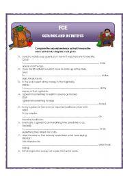 English Worksheet: Gerunds and infinitives - transformation sentences