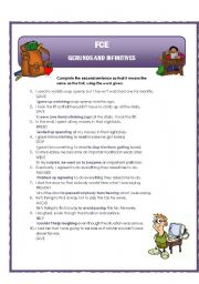 Gerunds and infinitives - transformation sentences - teacher´s notes
