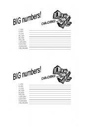 English Worksheet: Big Numbers worksheet