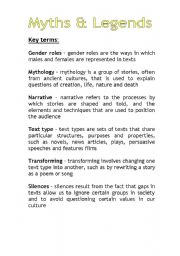 English Worksheets: Myths and Legends Key Terms