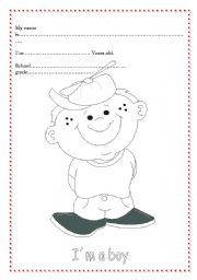 English Worksheets: Cover or personal ID for youngers pupils