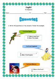 English worksheet: Countries worksheet part 1