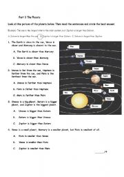 English Worksheet: Reading Quiz part 3: the planets