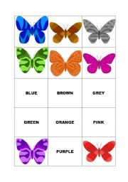 English Worksheets: MEMORY GAME (cards) COLOURS