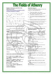 English Worksheets: Grammar Through Songs: The Fields of Athenry