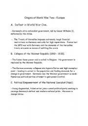 English Worksheets: Origins of World War II