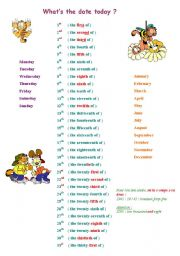 English Worksheet: days, ordinal numbers, months and years