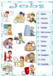 English Worksheets: worksheet about jobs