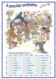 English Worksheet: Musical instruments (1 of 2) (05.09.08)