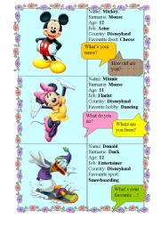 English Worksheet: DISNEY - make an interview