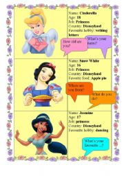 English Worksheet: DISNEY PRINCESSES - make an interview