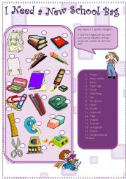 English Worksheet: school objects and a puzzle/ naz from JAM family