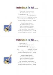 English Worksheet: another brick in the wall (by Pink Floyd)