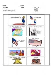 english worksheets the pledge of allegiance. Black Bedroom Furniture Sets. Home Design Ideas