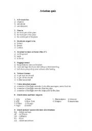 photograph about Printable Sorting Hat Quiz titled aviation quiz - ESL worksheet as a result of daca