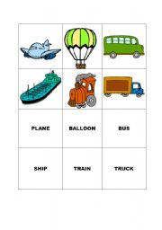 English Worksheets: TRANSPORT - MEMORY GAME CARDS