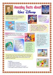 English Worksheet: Amazing facts about Walt Disney