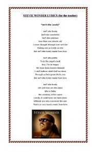 English Worksheet: Isn�t she lovely By Stevie Wonder
