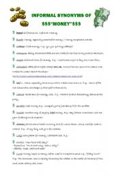English worksheets: INFORMAL SYNONYMS OF