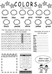 English Worksheet: colors (for beginners)
