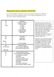 English Worksheet: RULES OF PREPOSITIONS- A GAME