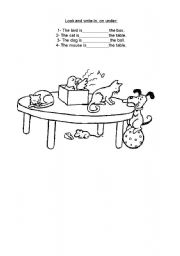 English Worksheet: prepositions in, on under