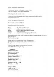 English Worksheets: song imagine by Jhon Lennon