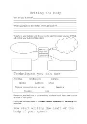 English Worksheets: Writing the body of a speech