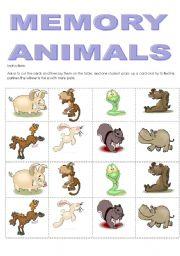 English Worksheets: MEMORY ANIMALS