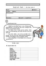 English Worksheet: Test  5th form