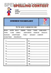 English Worksheet: Spelling contest