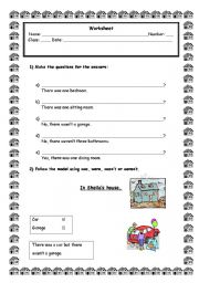 English Worksheet: There was/ There were