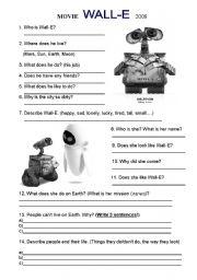 English Worksheets: Movie WALL - E worksheet