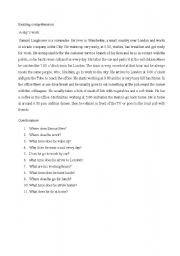 English Worksheets: reading comprehension a commuter day