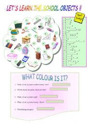 English Worksheet: LET�S LEARN THE SCHOOL OBJECTS