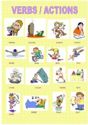 English Worksheets: VERBS AND ACTIONS
