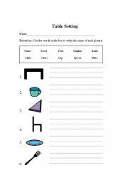 English teaching worksheets: Setting the table