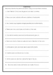 English Worksheet: Commas in a Series