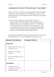 English Worksheet: Learning about Narrative Writing through ��Equal Rights��