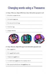 English Worksheets: Using a thesaurus