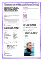 English Worksheet: when you say nothing at all ( R. Keaton)