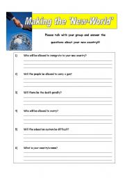English Worksheets: Making the New World - Question Sheet