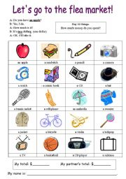 English Worksheet: Let�s go to the flea market HOW MUCH IS IT