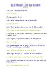 English worksheet: Julie Teaches Lucy How to Drive