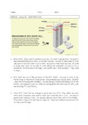 English Worksheets: Writing task  9/11 World trade center