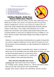 English worksheet Cell Phone Etiquette Rules