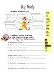 English Worksheets: MY BODY worksheet part 2