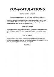 English Worksheets: You Have Won The Lottery!