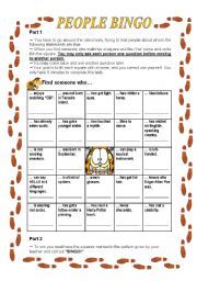 English Worksheet: Ice Breaker - PEOPLE BINGO