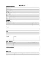 knowing about cv formats and looking for a job esl worksheet by